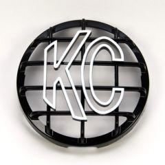 KC HiLiTES 7210 6in. Round ABS Stone Guard for SlimLite/Daylighter Lights (Single) - Black/White KC Logo