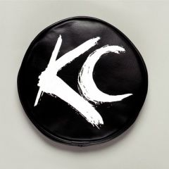 KC HiLiTES 5117 6in. Round Soft Cover (Pair) - Black w/White Brushed KC Logo
